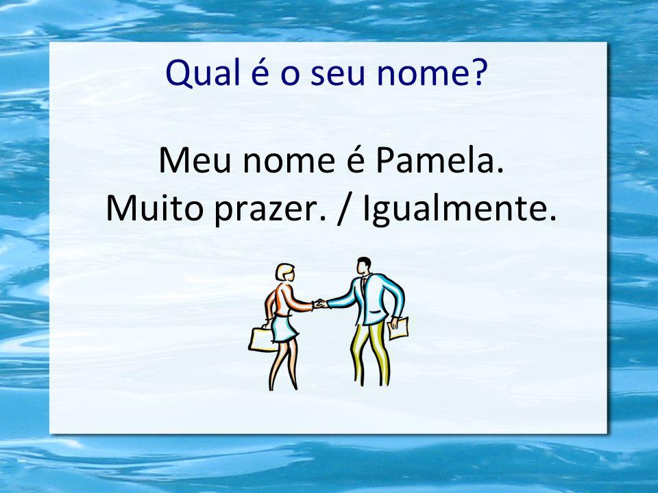 Meu nome é Pamela. Muito prazer. / Igualmente. Qual é o seu nome?