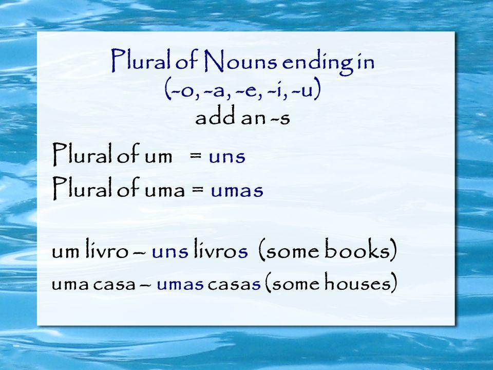 Plural of Nouns ending in (-o, -a, -e, -i, -u) add an -s Plural of um = uns Plural of uma = umas um livro – uns livros (some books) uma casa – umas ca