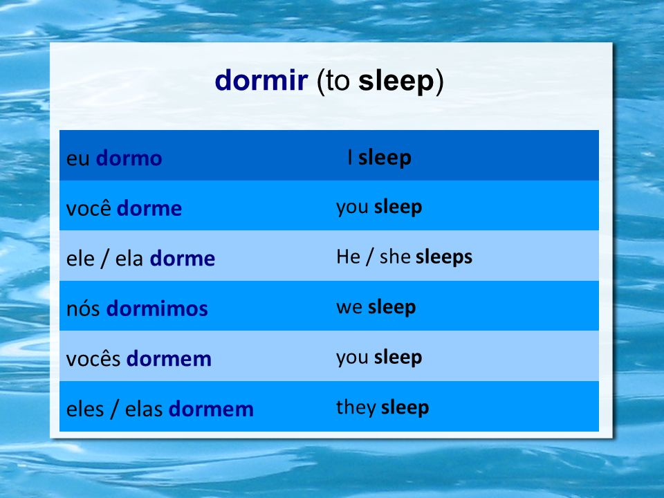 dormir (to sleep) eu dormo I sleep você dorme you sleep ele / ela dorme He / she sleeps nós dormimos we sleep vocês dormem you sleep eles / elas dorme