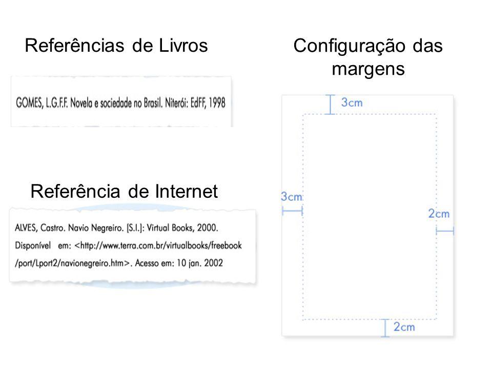 Referências de Livros Referência de Internet Configuração das margens