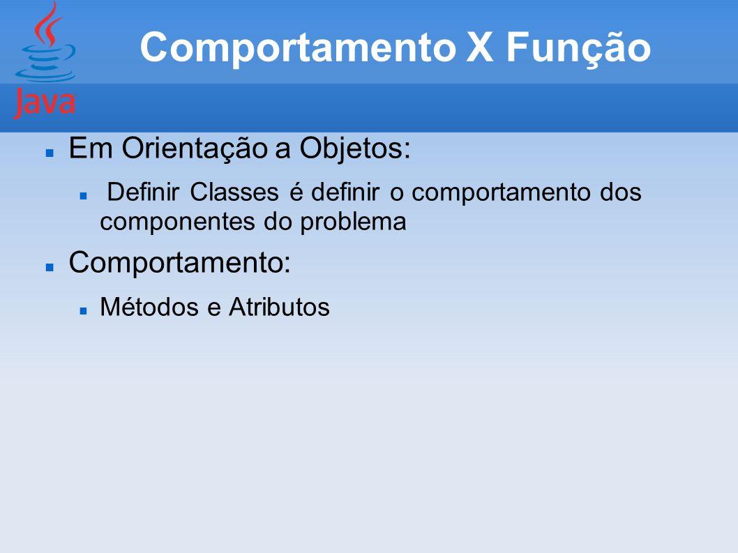 Comportamento X Função Em Orientação a Objetos: Definir Classes é definir o comportamento dos componentes do problema Comportamento: Métodos e Atribut