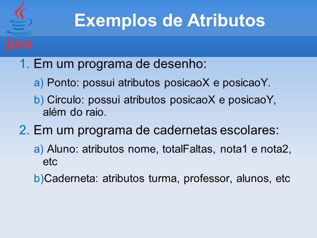 Exemplos de Atributos 1. Em um programa de desenho: a) Ponto: possui atributos posicaoX e posicaoY. b) Circulo: possui atributos posicaoX e posicaoY,