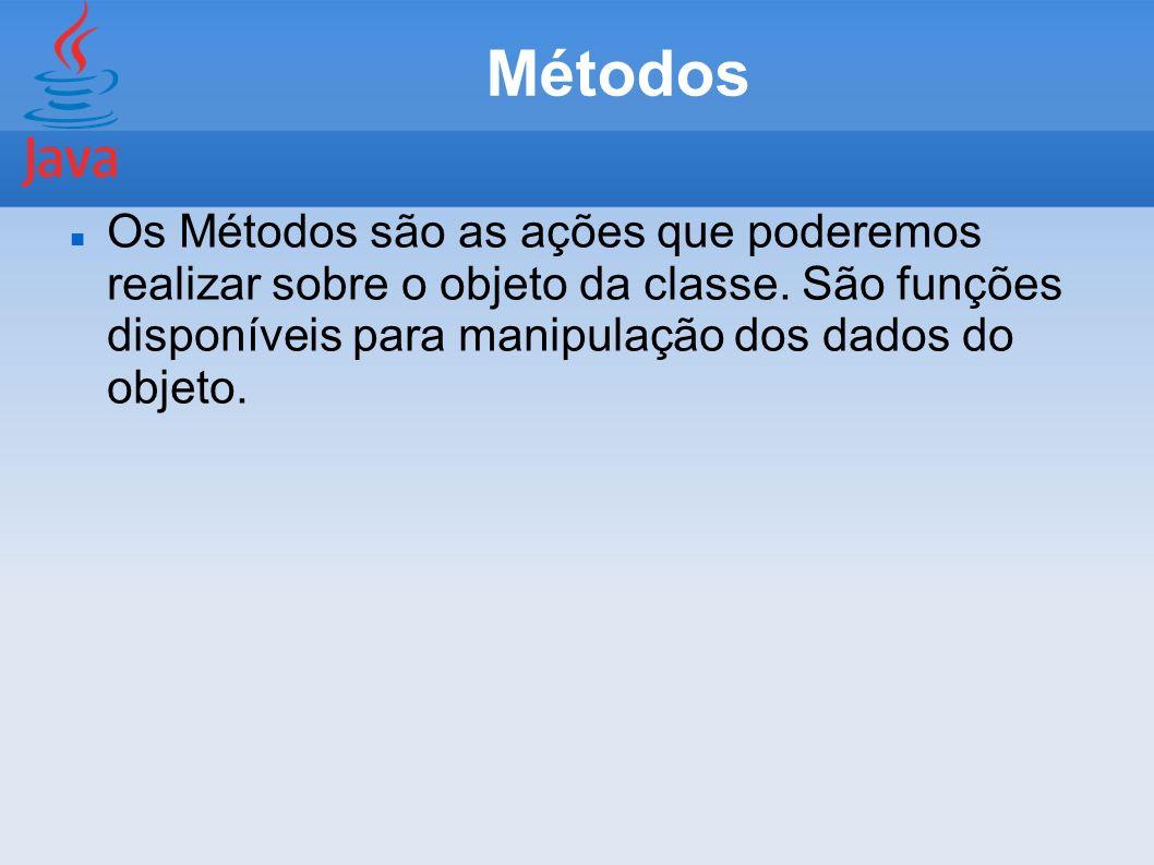 Métodos Os Métodos são as ações que poderemos realizar sobre o objeto da classe. São funções disponíveis para manipulação dos dados do objeto.