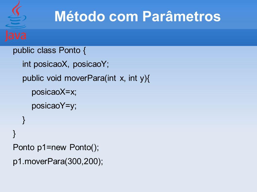 Método com Parâmetros public class Ponto { int posicaoX, posicaoY; public void moverPara(int x, int y){ posicaoX=x; posicaoY=y; } Ponto p1=new Ponto()
