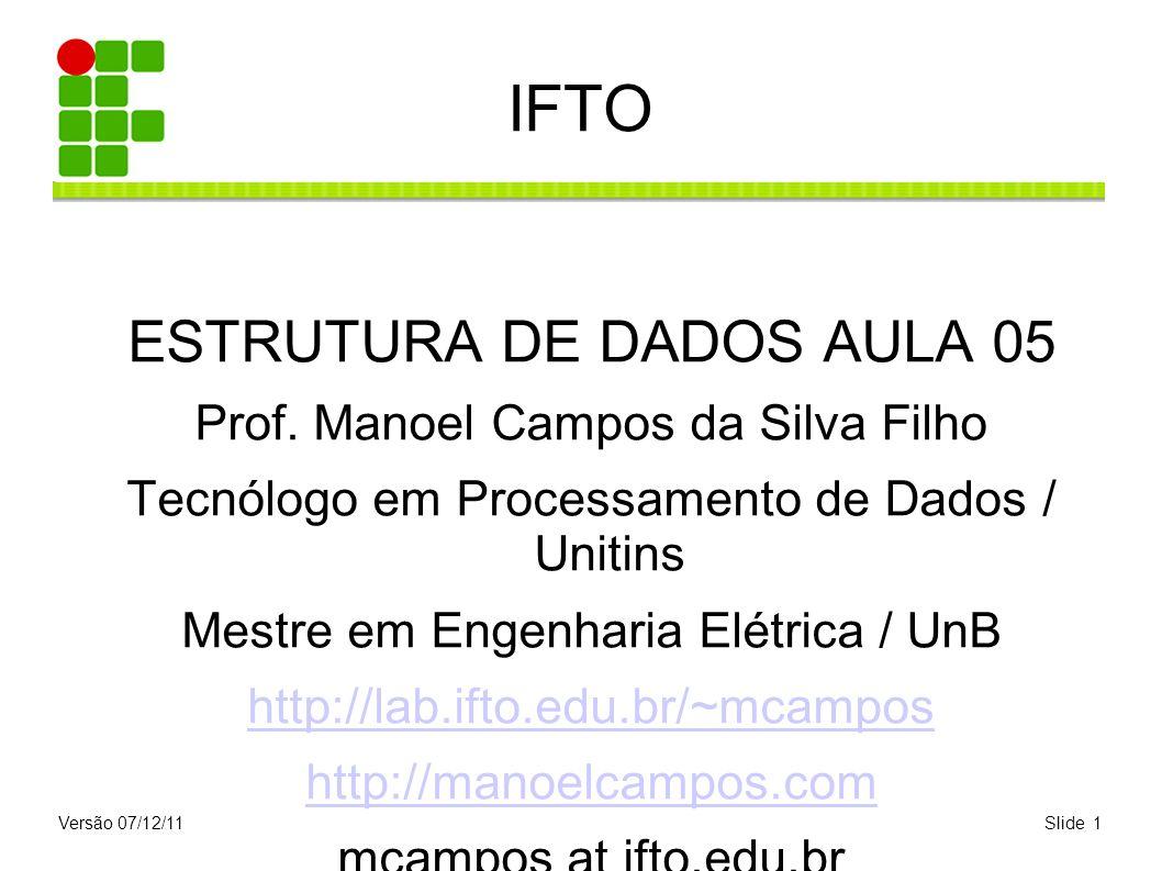 Versão 07/12/11Slide 1 IFTO ESTRUTURA DE DADOS AULA 05 Prof. Manoel Campos da Silva Filho Tecnólogo em Processamento de Dados / Unitins Mestre em Enge