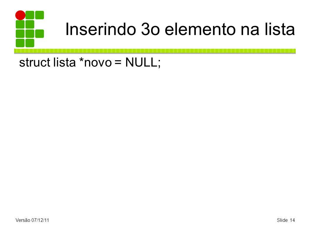 Versão 07/12/11Slide 14 Inserindo 3o elemento na lista struct lista *novo = NULL;