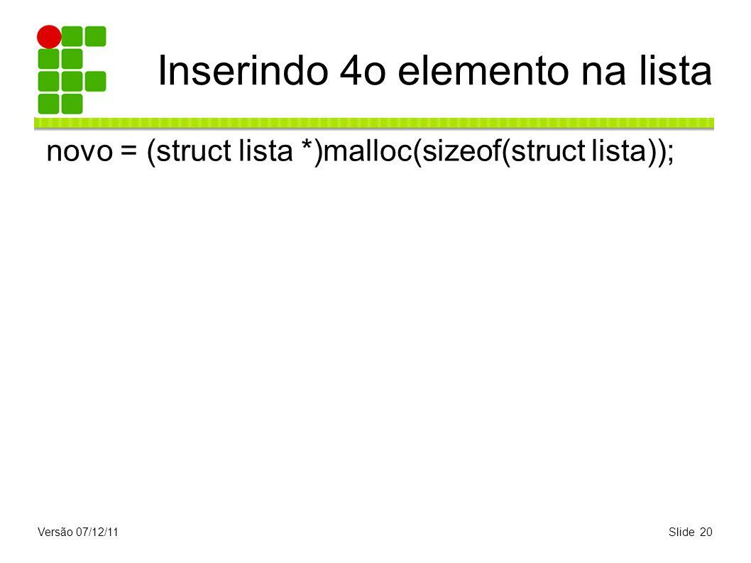 Versão 07/12/11Slide 20 Inserindo 4o elemento na lista novo = (struct lista *)malloc(sizeof(struct lista));