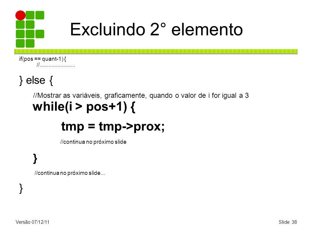 Versão 07/12/11Slide 38 Excluindo 2° elemento if(pos == quant-1) { //........................ } else { //Mostrar as variáveis, graficamente, quando o