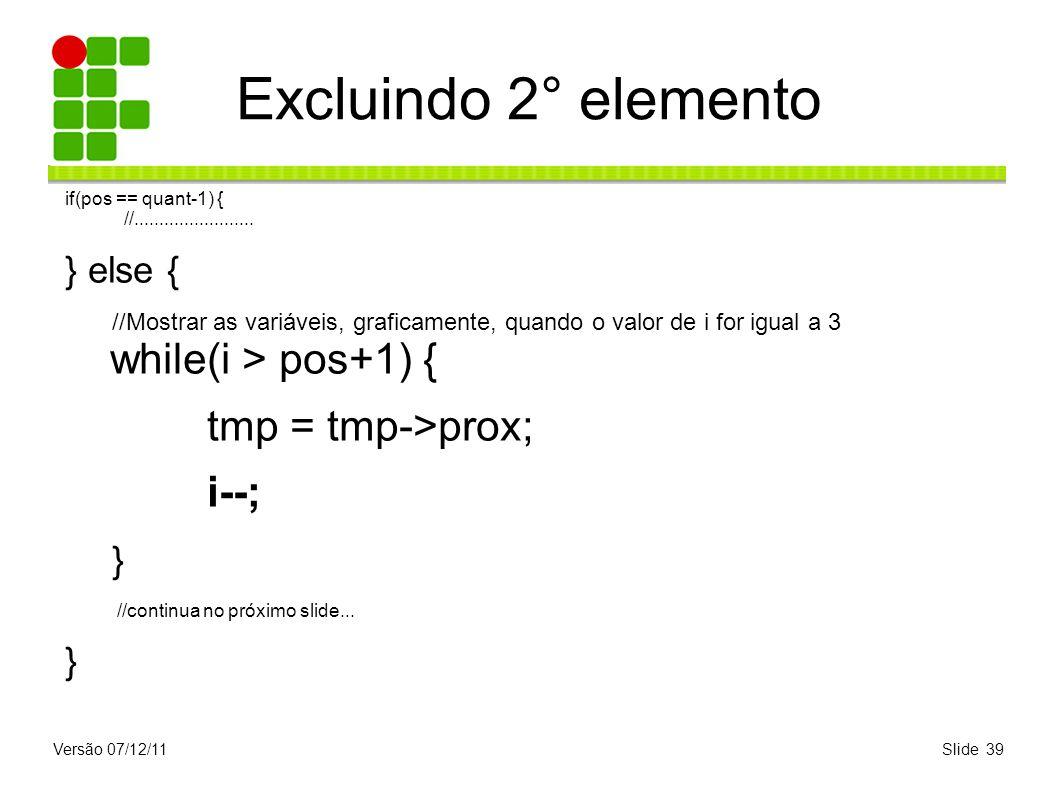 Versão 07/12/11Slide 39 Excluindo 2° elemento if(pos == quant-1) { //........................ } else { //Mostrar as variáveis, graficamente, quando o