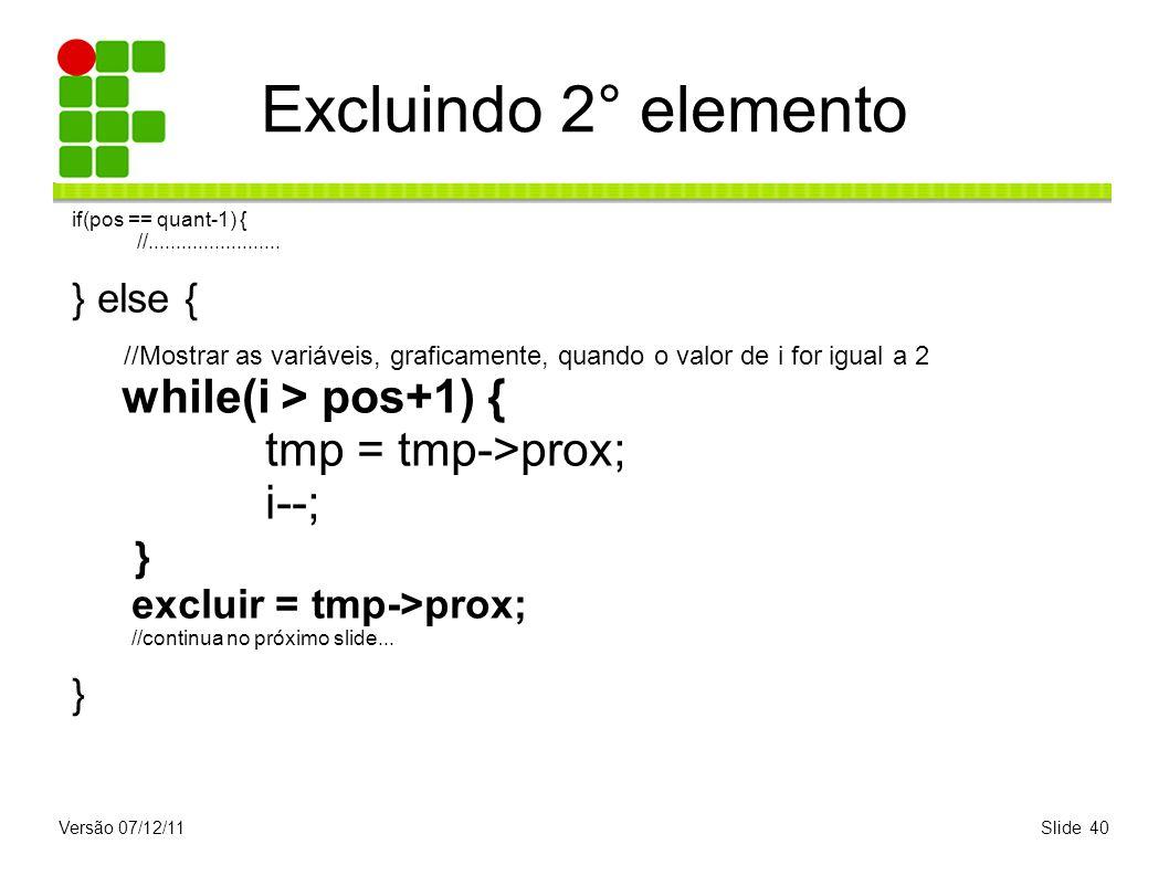 Versão 07/12/11Slide 40 Excluindo 2° elemento if(pos == quant-1) { //........................ } else { //Mostrar as variáveis, graficamente, quando o