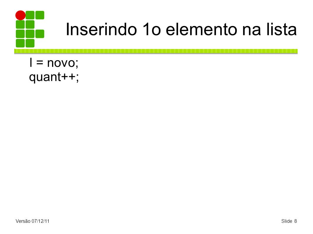 Versão 07/12/11Slide 8 Inserindo 1o elemento na lista l = novo; quant++;