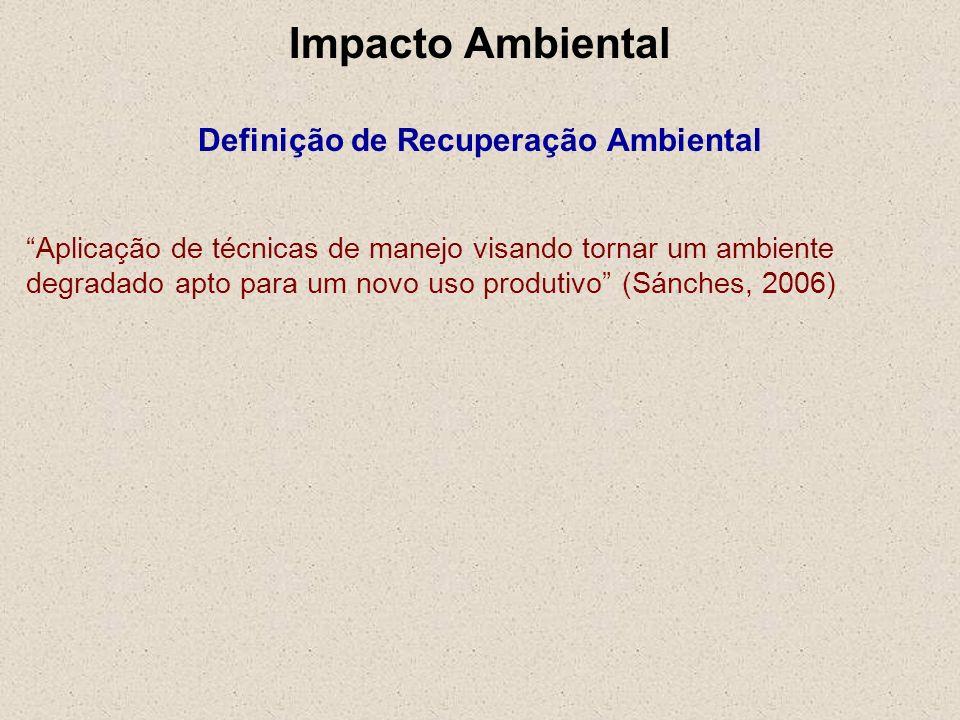 Impacto Ambiental Definição de Recuperação Ambiental Aplicação de técnicas de manejo visando tornar um ambiente degradado apto para um novo uso produt