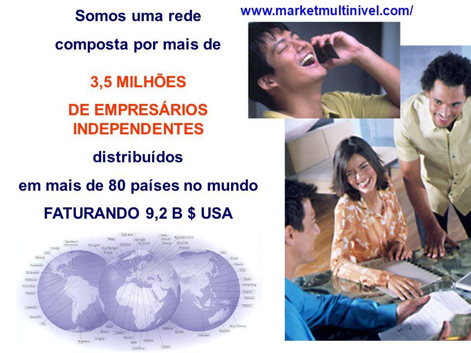 Somos uma rede composta por mais de 3,5 MILHÕES DE EMPRESÁRIOS INDEPENDENTES distribuídos em mais de 80 países no mundo FATURANDO 9,2 B $ USA www.marketmultinivel.com/