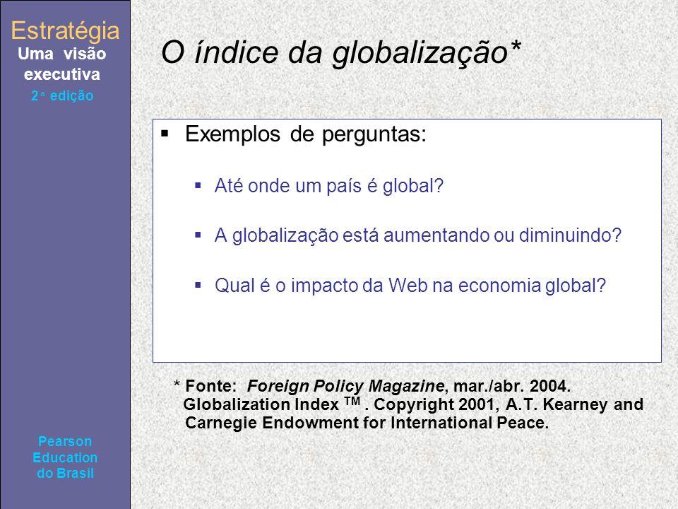 Estratégia Uma visão executiva Pearson Education do Brasil 2ª edição O índice da globalização* Exemplos de perguntas: Até onde um país é global? A glo