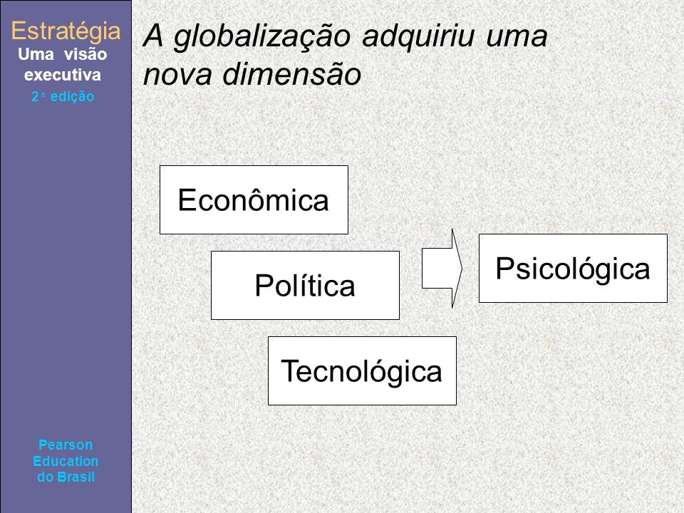 Estratégia Uma visão executiva Pearson Education do Brasil 2ª edição A globalização adquiriu uma nova dimensão Econômica Política Tecnológica Psicológica