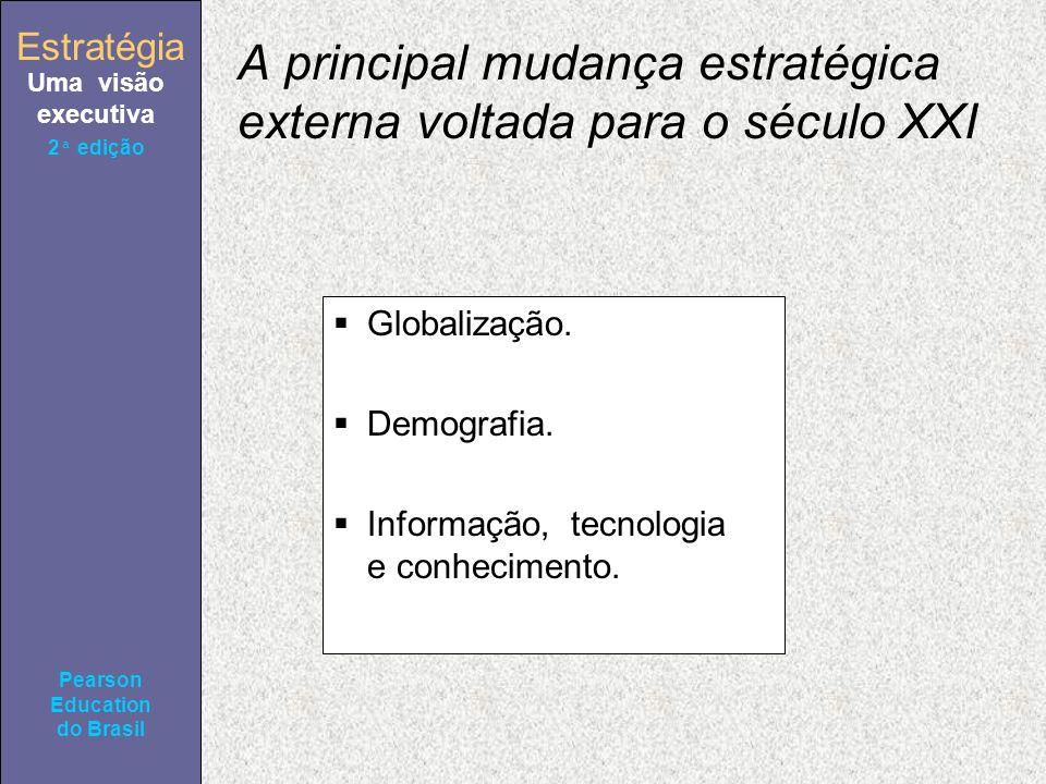 Estratégia Uma visão executiva Pearson Education do Brasil 2ª edição A principal mudança estratégica externa voltada para o século XXI Globalização. D