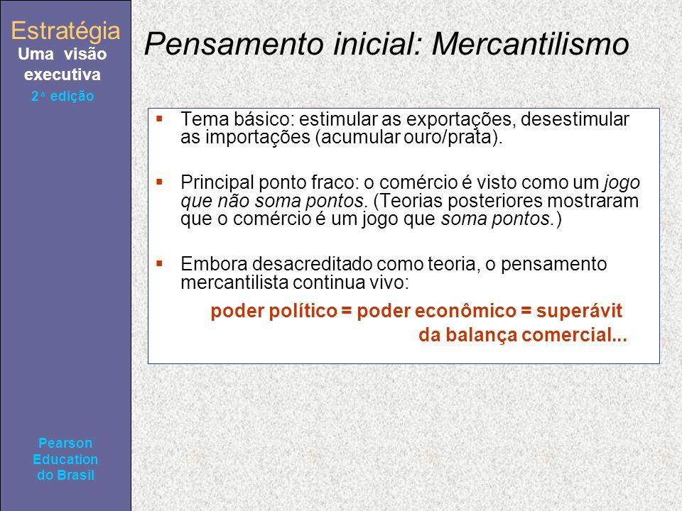 Estratégia Uma visão executiva Pearson Education do Brasil 2ª edição Pensamento inicial: Mercantilismo Tema básico: estimular as exportações, desestimular as importações (acumular ouro/prata).