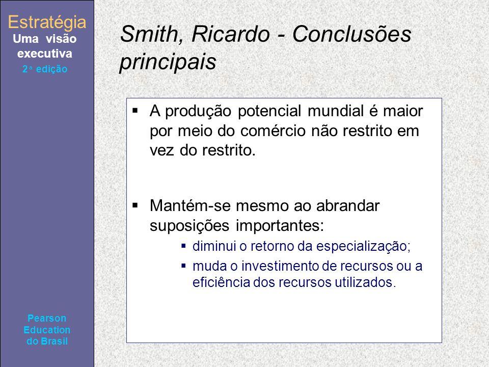 Estratégia Uma visão executiva Pearson Education do Brasil 2ª edição Smith, Ricardo - Conclusões principais A produção potencial mundial é maior por meio do comércio não restrito em vez do restrito.
