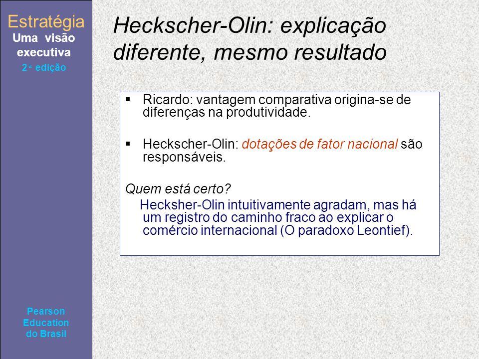 Estratégia Uma visão executiva Pearson Education do Brasil 2ª edição Heckscher-Olin: explicação diferente, mesmo resultado Ricardo: vantagem comparativa origina-se de diferenças na produtividade.