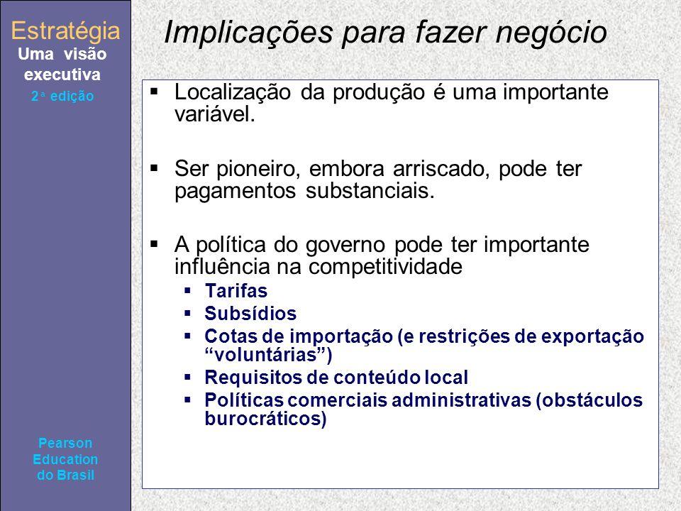 Estratégia Uma visão executiva Pearson Education do Brasil 2ª edição Implicações para fazer negócio Localização da produção é uma importante variável.