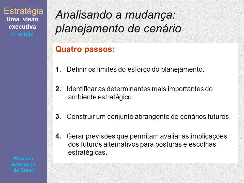 Estratégia Uma visão executiva Pearson Education do Brasil 2ª edição Analisando a mudança: planejamento de cenário Quatro passos: 1.