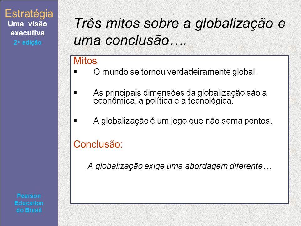Estratégia Uma visão executiva Pearson Education do Brasil 2ª edição Três mitos sobre a globalização e uma conclusão…. Mitos O mundo se tornou verdade