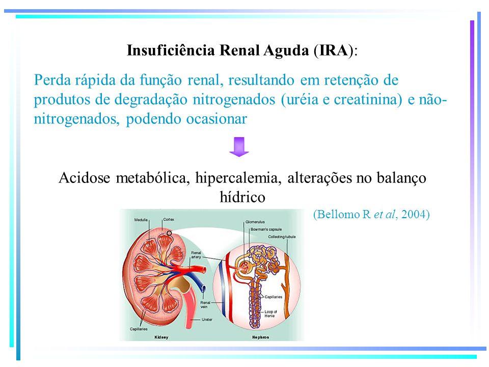 Insuficiência Renal Aguda (IRA): Perda rápida da função renal, resultando em retenção de produtos de degradação nitrogenados (uréia e creatinina) e nã