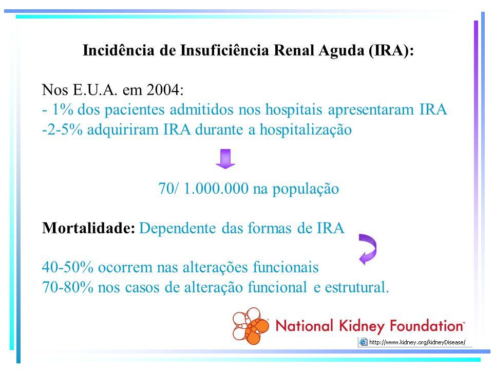 Incidência de Insuficiência Renal Aguda (IRA): Nos E.U.A. em 2004: - 1% dos pacientes admitidos nos hospitais apresentaram IRA -2-5% adquiriram IRA du