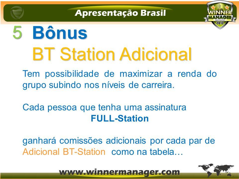 5 Bônus BT Station Adicional Tem possibilidade de maximizar a renda do grupo subindo nos níveis de carreira. Cada pessoa que tenha uma assinatura FULL