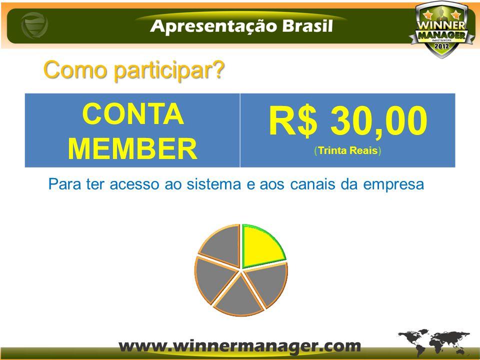 Como participar? (duzentos e quarenta e cinco reais) R$ 245 Para ter acesso ao sistema e aos canais da empresa CONTA MEMBER R$ 30,00 (Trinta Reais)