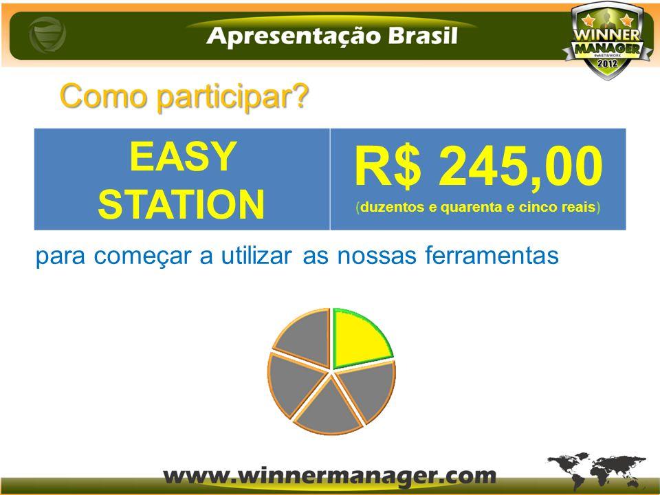 Como participar? (duzentos e quarenta e cinco reais) R$ 245 para começar a utilizar as nossas ferramentas EASY STATION R$ 245,00 (duzentos e quarenta