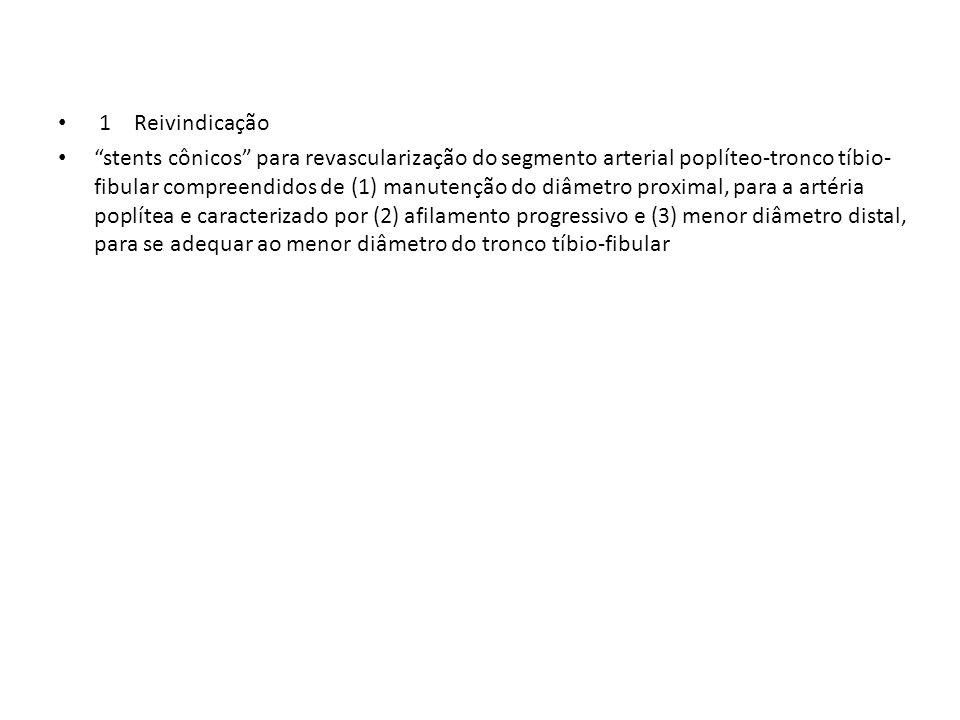 1 Reivindicação stents cônicos para revascularização do segmento arterial poplíteo-tronco tíbio- fibular compreendidos de (1) manutenção do diâmetro p