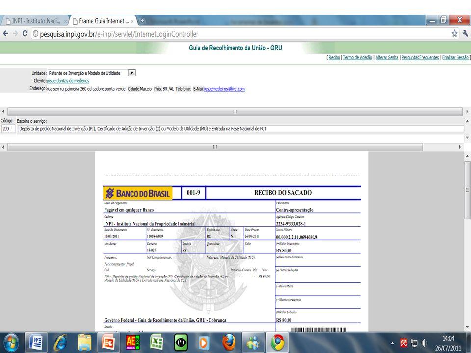 Minha primeira patente Após pagamento da GRU, anexar CPF, ENDEREÇO e CARTEIRA DO CONSELHO, e dar entrada com o pedido no INPI local.