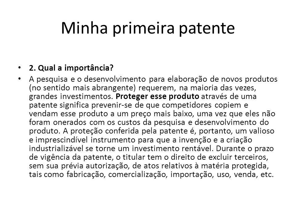 Minha primeira patente Modelo de Utilidade No direito brasileiro, como no da Argentina, Alemanha, Grécia, Itália, Espanha, França e do Japão, por exemplo, a par das patentes de invenção subsiste um tipo especial de proteção para os chamados modelos de utilidade.