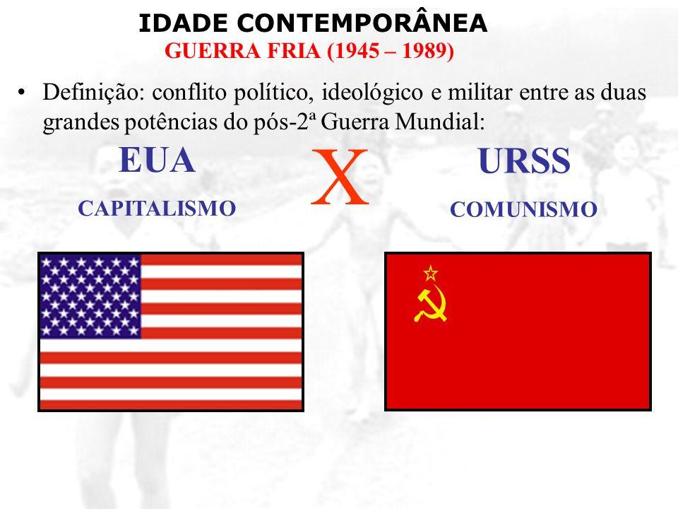 IDADE CONTEMPORÂNEA GUERRA FRIA (1945 – 1989) Guerra da Coréia (1950 – 1953): –Coréia do Norte (Com.)XCoréia do Sul (Cap.) –CHI + URSS – pró norte.