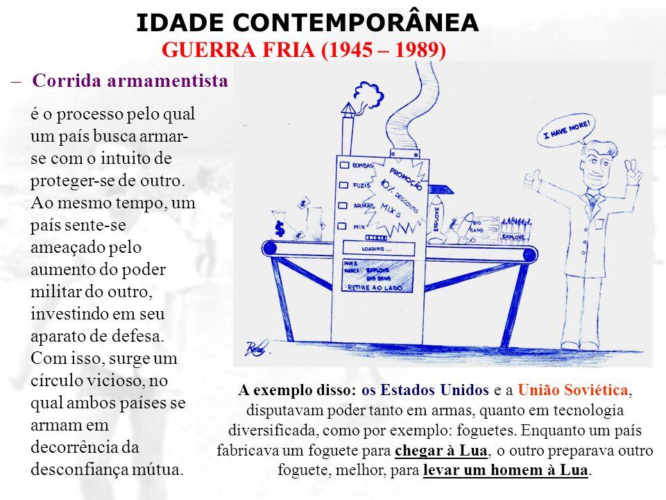 IDADE CONTEMPORÂNEA GUERRA FRIA (1945 – 1989) –Corrida armamentista é o processo pelo qual um país busca armar- se com o intuito de proteger-se de out