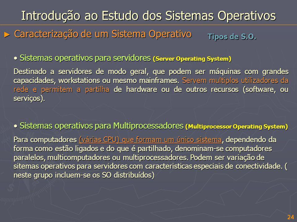 24 Introdução ao Estudo dos Sistemas Operativos Caracterização de um Sistema Operativo Caracterização de um Sistema Operativo Sistemas operativos para