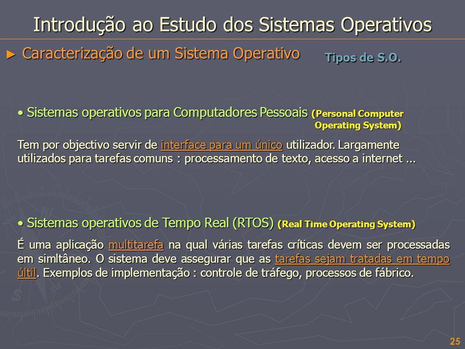 25 Introdução ao Estudo dos Sistemas Operativos Caracterização de um Sistema Operativo Caracterização de um Sistema Operativo Tipos de S.O. Sistemas o