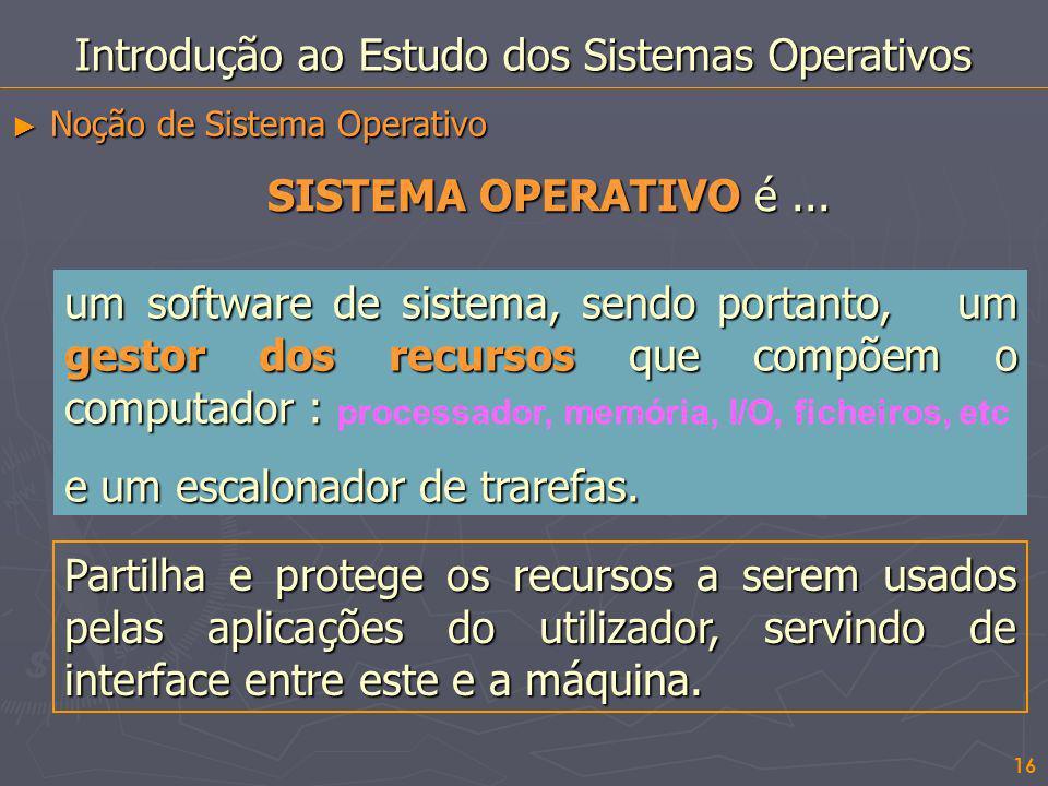 16 Introdução ao Estudo dos Sistemas Operativos Noção de Sistema Operativo Noção de Sistema Operativo um software de sistema, sendo portanto, um gesto