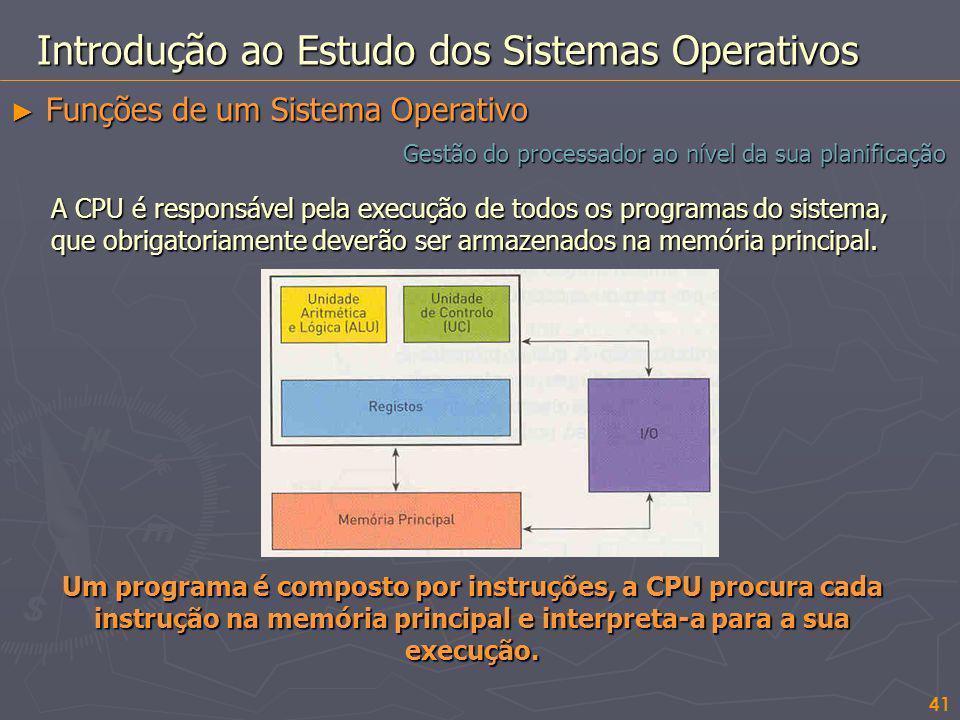 A CPU é responsável pela execução de todos os programas do sistema, que obrigatoriamente deverão ser armazenados na memória principal. Um programa é c