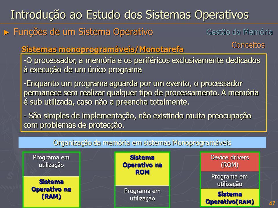 Conceitos 47 Gestão da Memória Introdução ao Estudo dos Sistemas Operativos Funções de um Sistema Operativo Funções de um Sistema Operativo Sistemas m