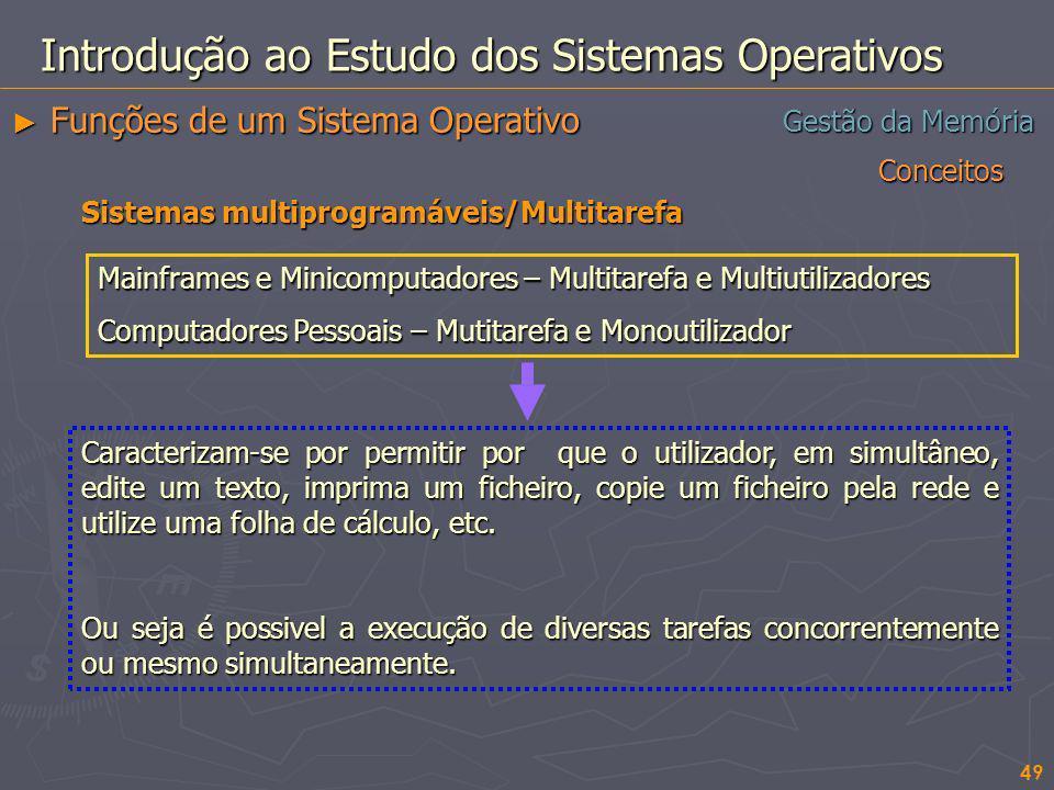 Conceitos 49 Gestão da Memória Introdução ao Estudo dos Sistemas Operativos Funções de um Sistema Operativo Funções de um Sistema Operativo Sistemas m