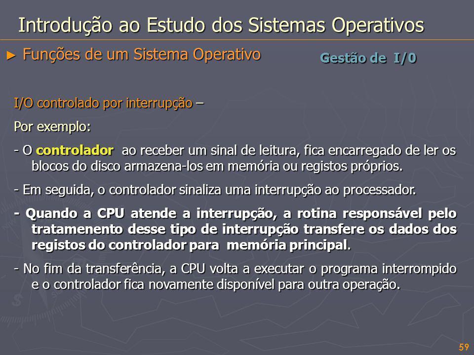 59 Gestão de I/0 Introdução ao Estudo dos Sistemas Operativos Funções de um Sistema Operativo Funções de um Sistema Operativo I/O controlado por inter