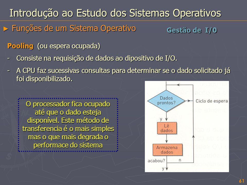 61 Gestão de I/0 Introdução ao Estudo dos Sistemas Operativos Funções de um Sistema Operativo Funções de um Sistema Operativo Pooling (ou espera ocupa
