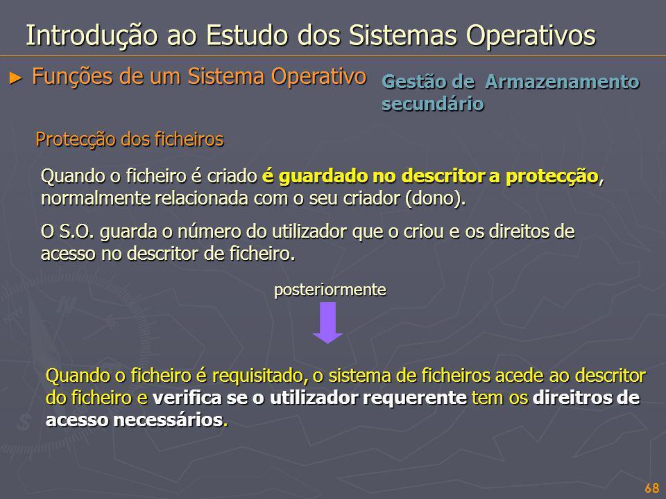 68 Gestão de Armazenamento secundário Introdução ao Estudo dos Sistemas Operativos Funções de um Sistema Operativo Funções de um Sistema Operativo Pro