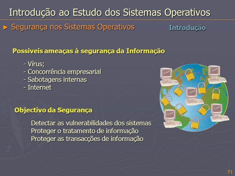 71 Introdução Introdução ao Estudo dos Sistemas Operativos Segurança nos Sistemas Operativos Segurança nos Sistemas Operativos Objectivo da Segurança