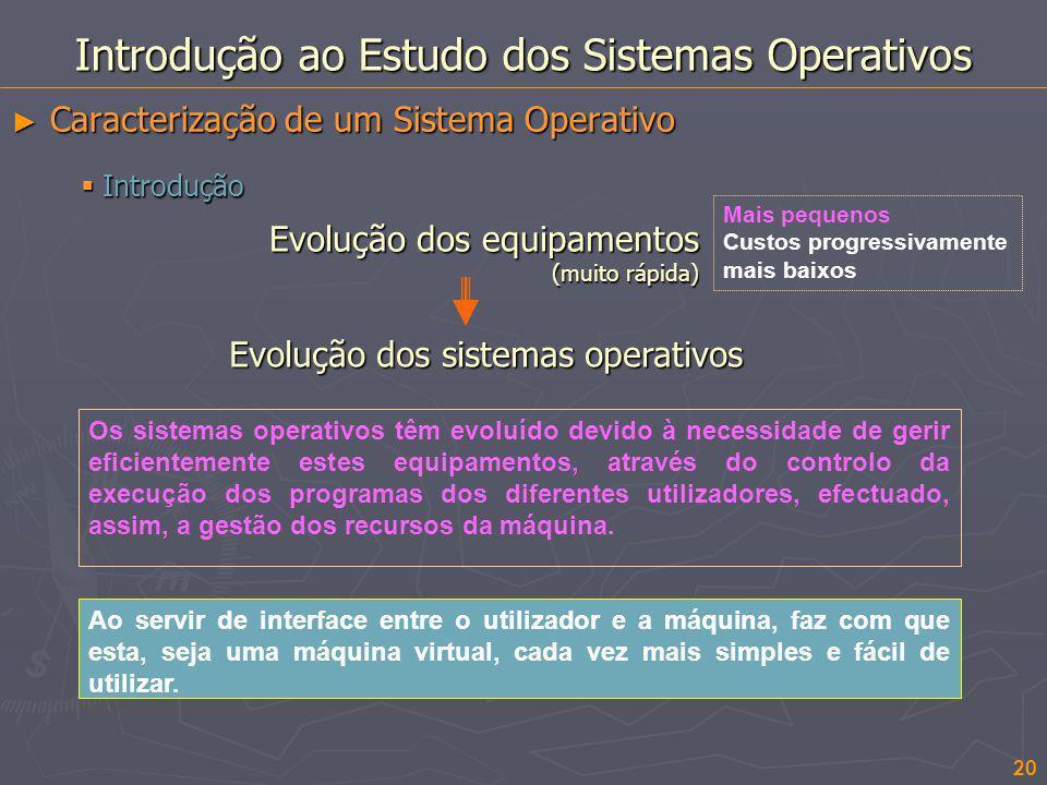 20 Introdução ao Estudo dos Sistemas Operativos Caracterização de um Sistema Operativo Caracterização de um Sistema Operativo Os sistemas operativos t
