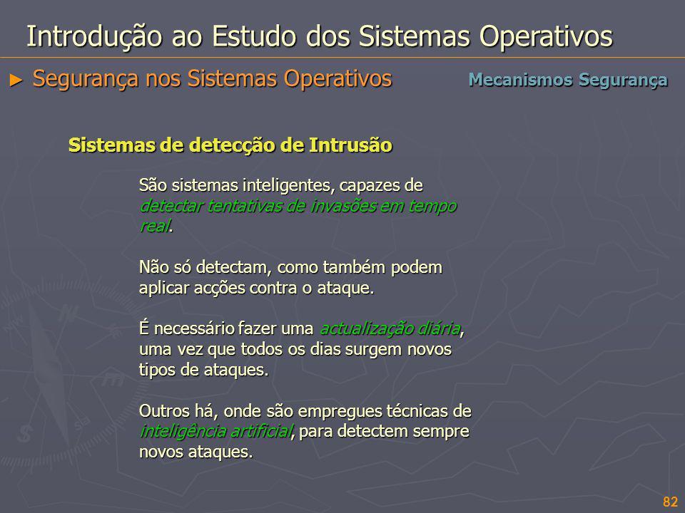 82 Introdução ao Estudo dos Sistemas Operativos Segurança nos Sistemas Operativos Segurança nos Sistemas Operativos Mecanismos Segurança Sistemas de d