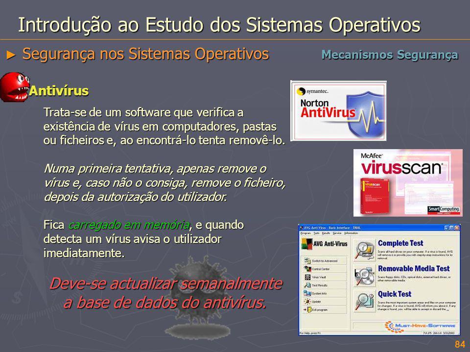 84 Introdução ao Estudo dos Sistemas Operativos Segurança nos Sistemas Operativos Segurança nos Sistemas Operativos Mecanismos Segurança Antivírus Tra