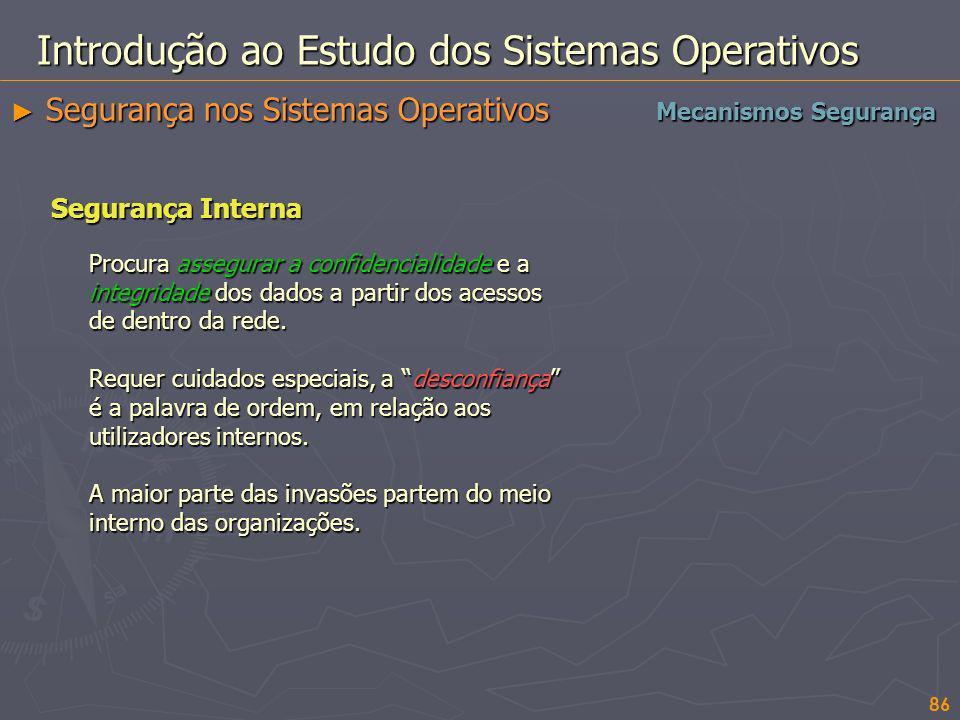 86 Introdução ao Estudo dos Sistemas Operativos Segurança nos Sistemas Operativos Segurança nos Sistemas Operativos Mecanismos Segurança Segurança Int